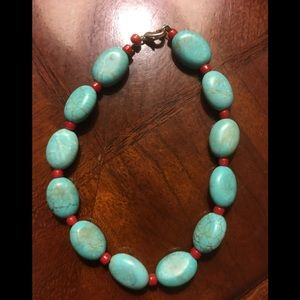 Handmade Turquoise and Coral Bracelet